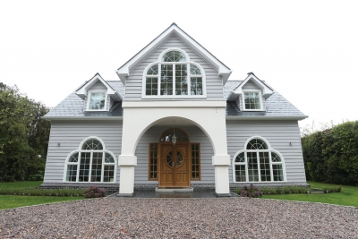 New England style with Black Millwork