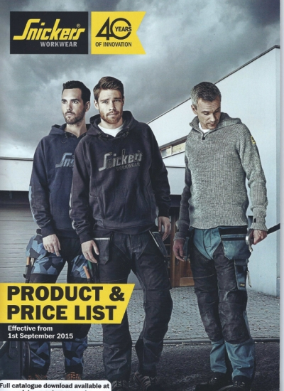 Snickers' new 'next generation workwear' product and price catalogue